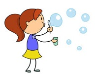 stick figure girl playing with bubbles